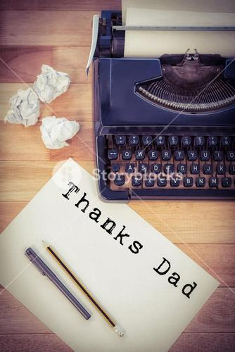 Composite image of word thanks dad