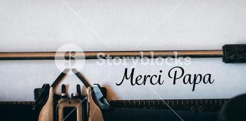 Composite image of merci papa message