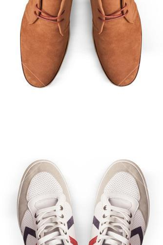 Composite image of focus of dress shoes