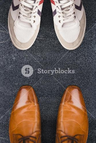 Composite image of focus of brown dress shoes