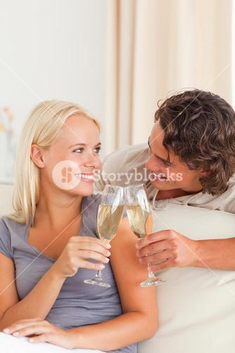 Portrait of a couple making a toast