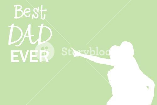 Silhouettes pointing at best dad ever message