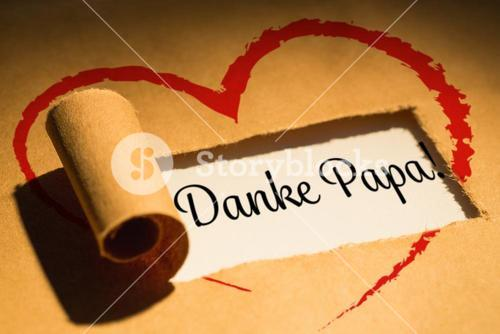 Composite image of word danke papa