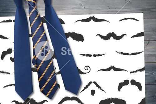 Composite image of ties and mustaches