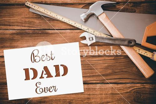 Best dad ever message next to tools