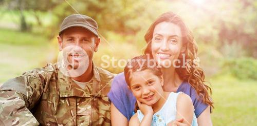 Portrait of army man with family