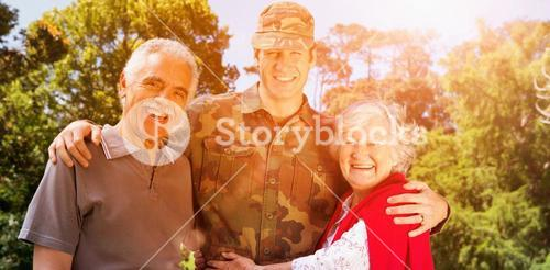 Portrait of army man with parents