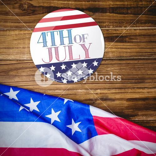 Composite image of american flag button
