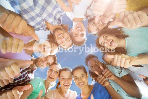 Composite image of low angle view of friends together