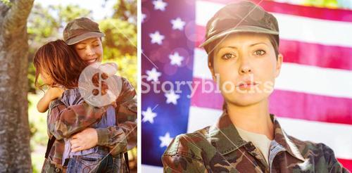 Composite image of american soldier reunited with his son and daughter