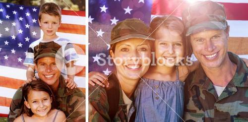 Composite image of soldier couple reunited with their daughter