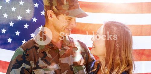 Happy american soldier reunited with his partner
