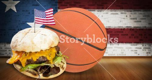Composite image of focus on hamburger