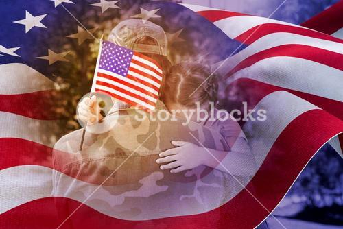 Composite image of army man hugging daughter with american flag