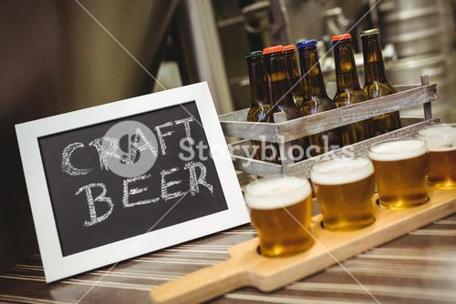 Sign board with beer samples at brewery