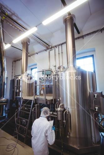 Rear view of manufacturer working in brewery