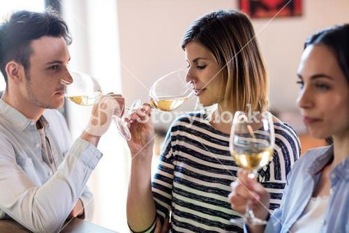 Friends drinking wine by counter