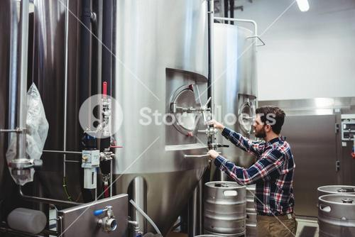 Male manufacturer working at brewery