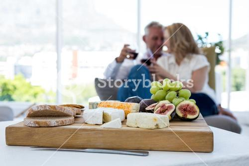 Various food in plate with couple