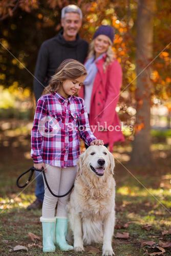 Girl stroking dog while parents at park
