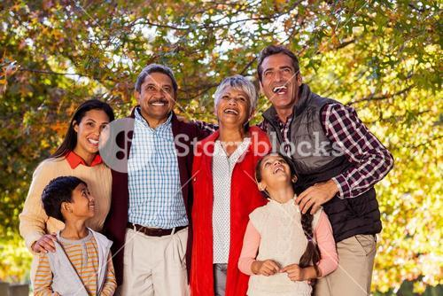 Cheerful multi-generation family laughing at park
