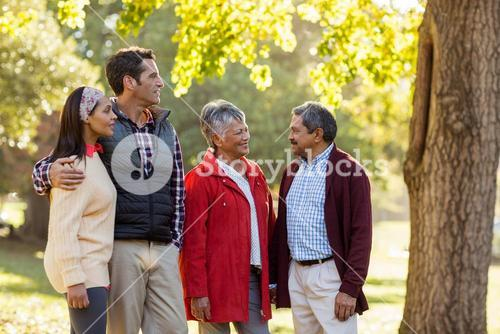 Family talking at park