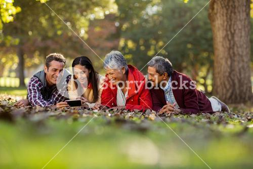 Family using mobile phone at park
