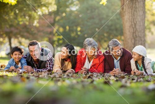 Family lying on front at park