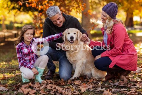Smiling family with dog at park