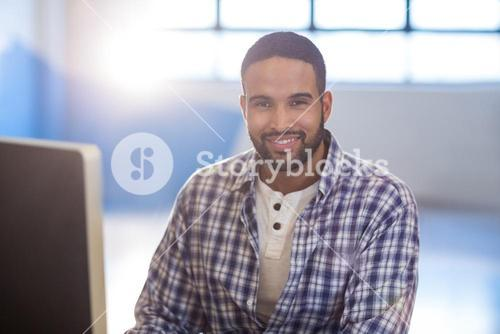 Young businessman in creative office