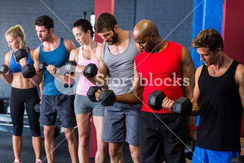 Fit friends lifting dumbbells in gym