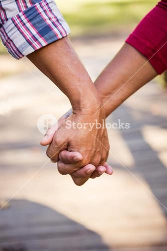 Close up of hiker couple holding hands