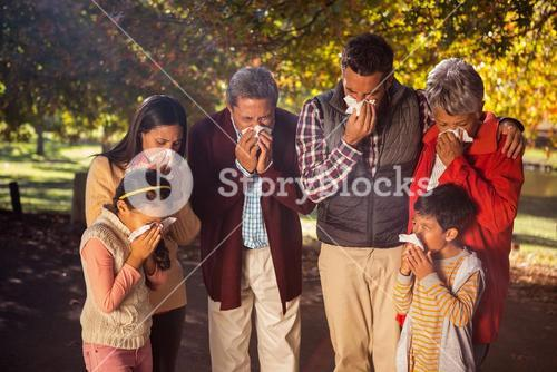 Family blowing nose while in park