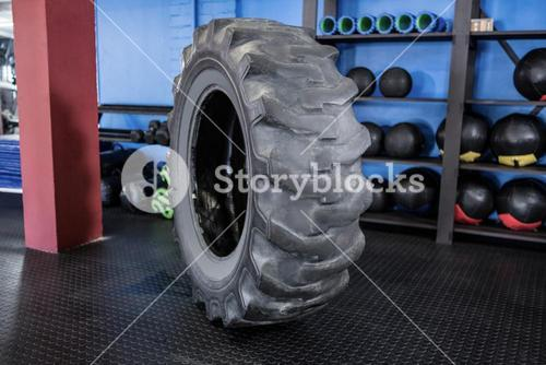 Rubber tire balanced in gym