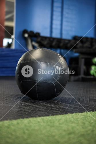 Black exercise ball in gym