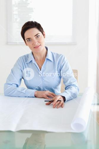 Working brunette businesswoman with a architectural plan