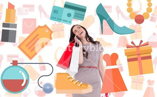 Composite image of happy brunette with shopping bags on the phone