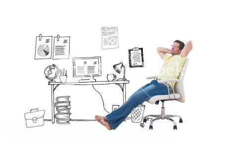 Composite image of man sitting on a swivel chair