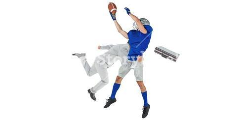 Composite image of businessman tackling a football player