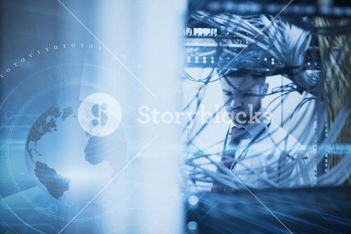 Composite image of man in a data center