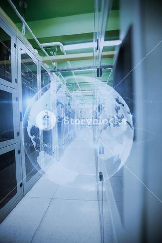 Composite image of image of a data center