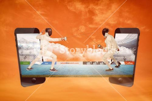 Composite image of people doing sword fight
