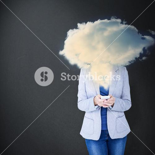 Composite image of portrait of smiling businesswoman using mobile phone