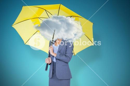 Composite image of full length portrait of smiling businesswoman holding yellow umbrella