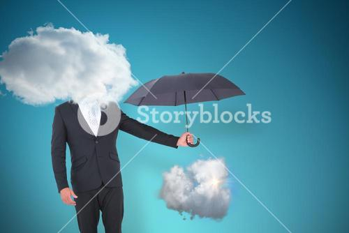 Composite image of businessman holding black umbrella beside him