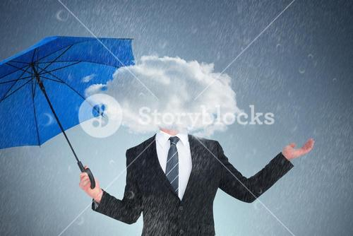 Composite image of happy businessman holding blue umbrella and looking up