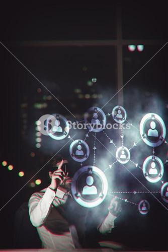 Composite image of online community background
