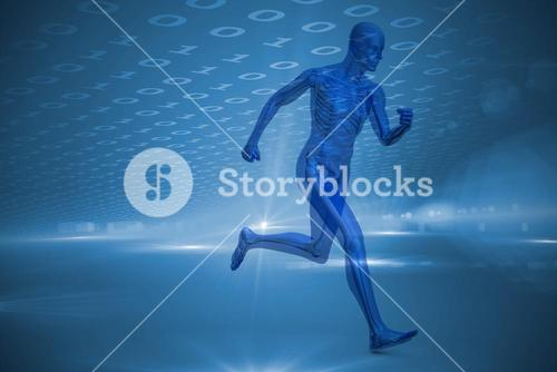 Composite image of blue character running
