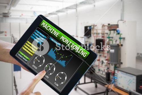 Composite image of finger pointing to tablet