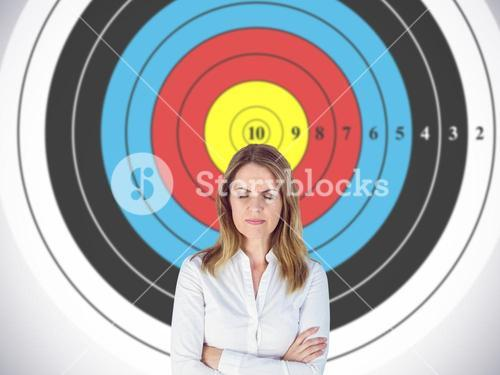 Composite image of upset businesswoman with eyes closed